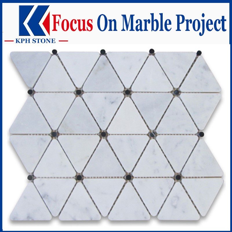 Carrara white triangle marble mosaic