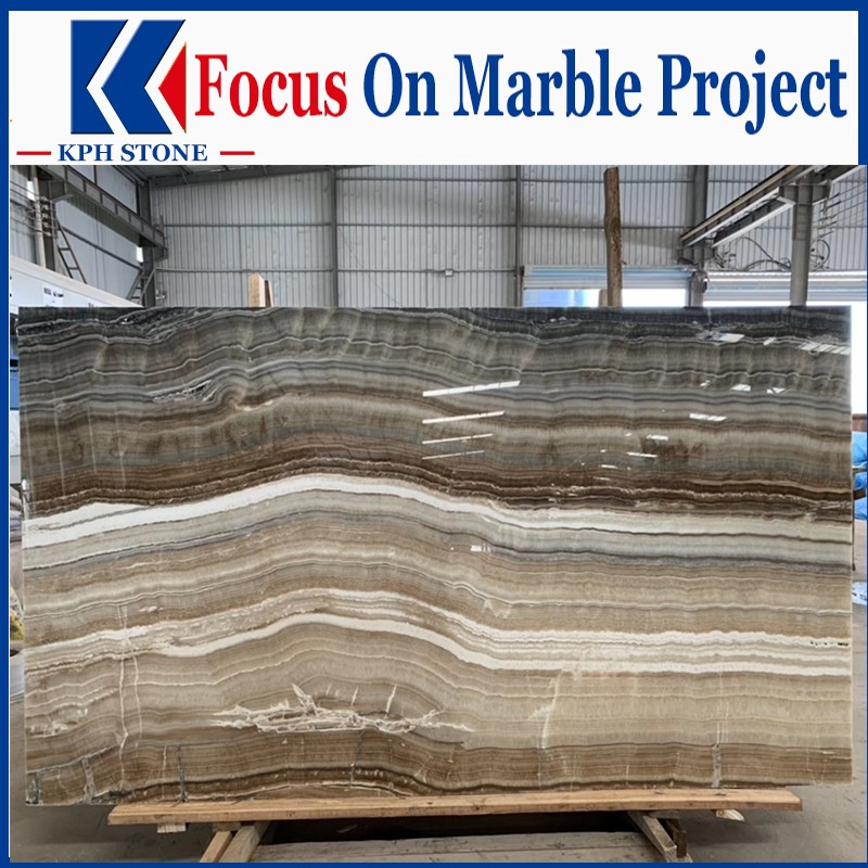 Water Onyx Brown Polished Stone Onyx Slabs