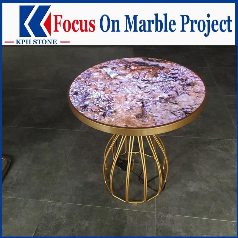 Violet agate round tabletoop