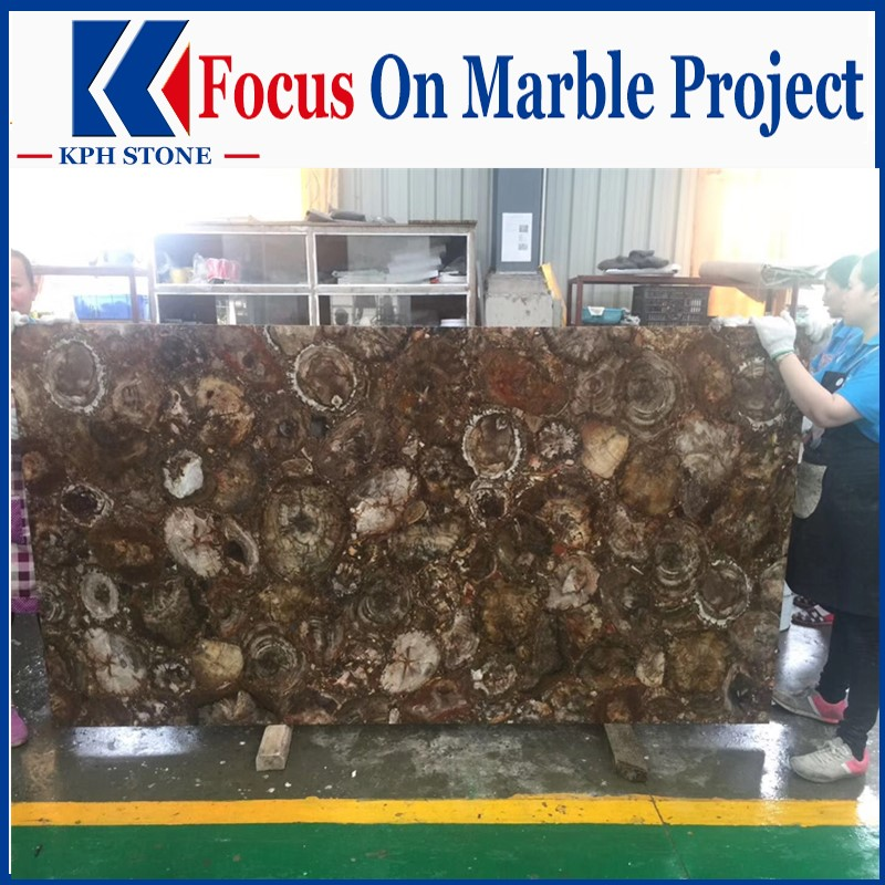Translucent Browne Agate slabs for wall decor