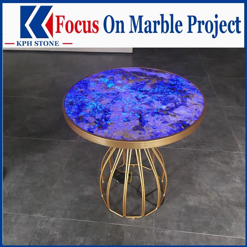 Dark blue agate round tabletop