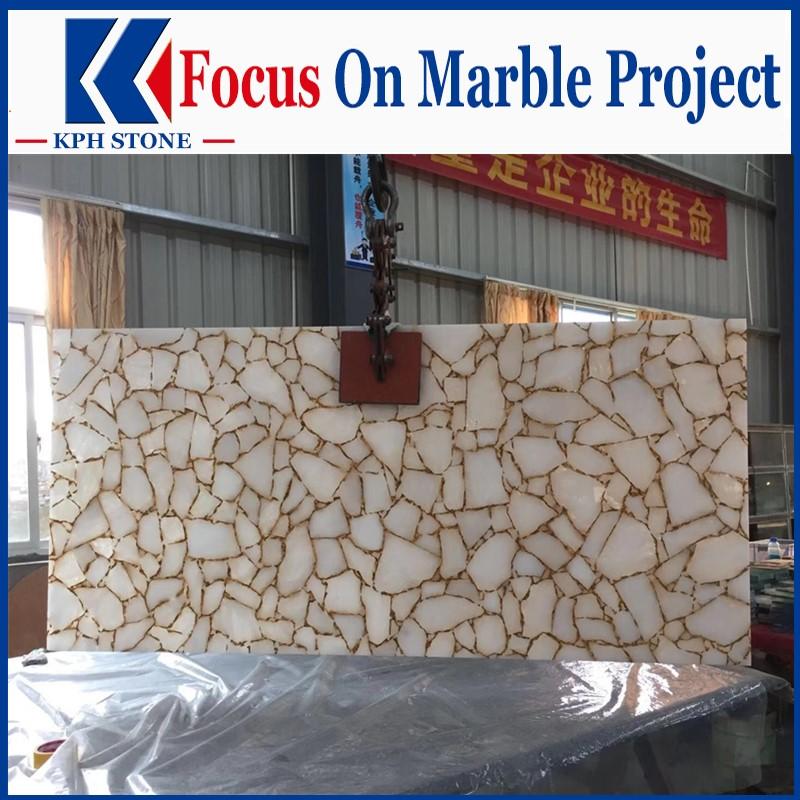 Semi precious white agate slab for Luxury brand