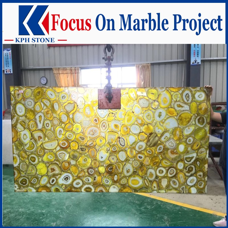 Prefab yellow agate slab for top grade hotel