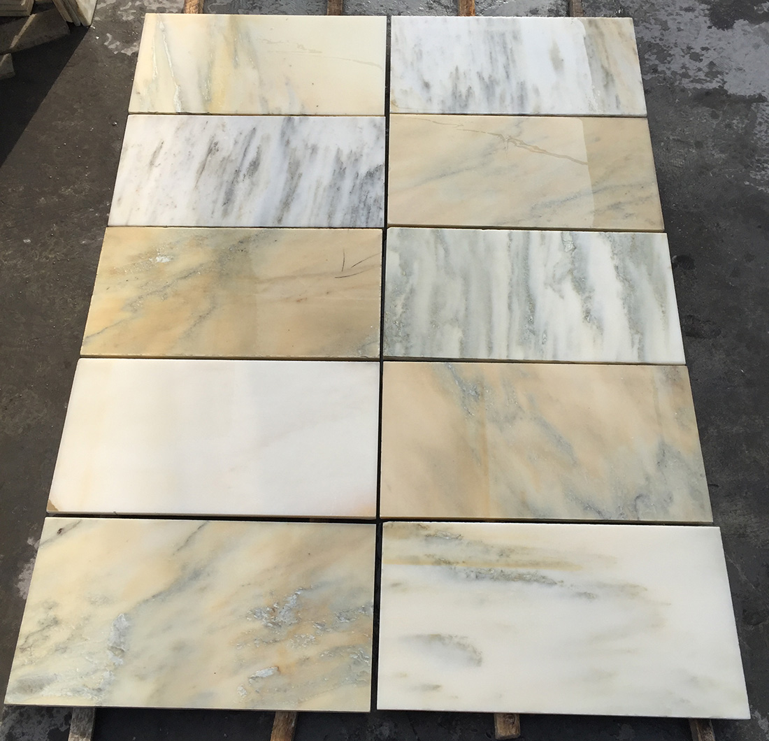Good Quality Unpolished China White Marble TilesChinese Landscape Painting For TV Wall