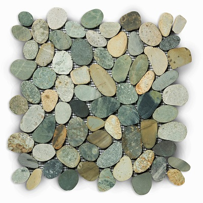 Pebbles Mosaic Tiles Swarthy Greeny Earthy