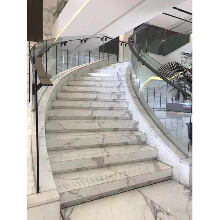 luxury Italy Statuario White Marble step stair