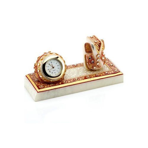Marble Clock With Ganesh Statues