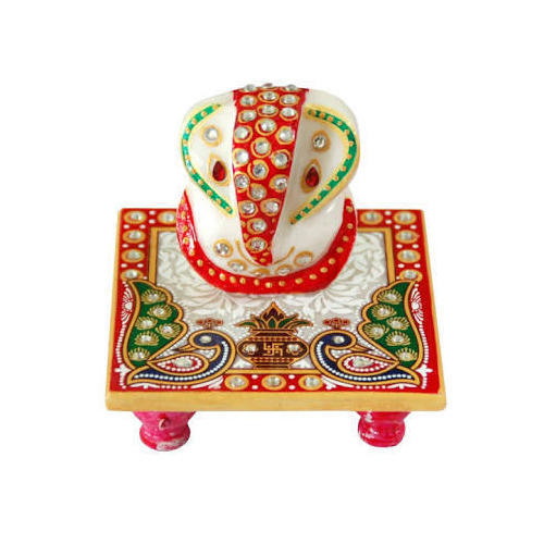 Marble Ganesh With Chowki