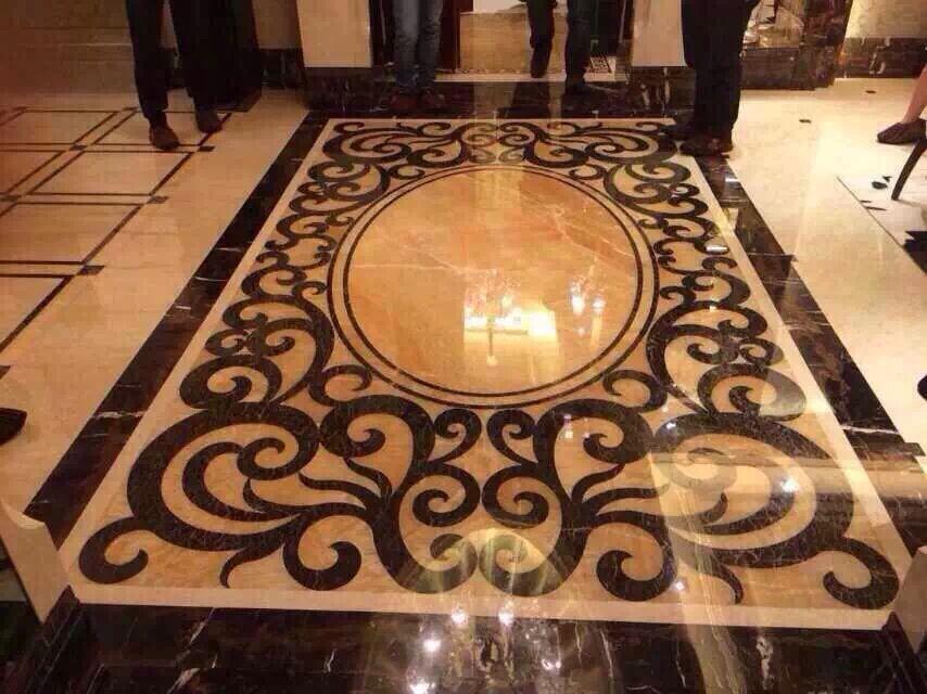 marble flooring water-jet medallion