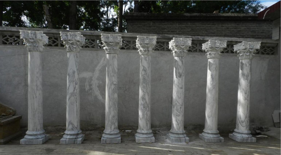 Italian Carrara Marble Columns Stone Pillars