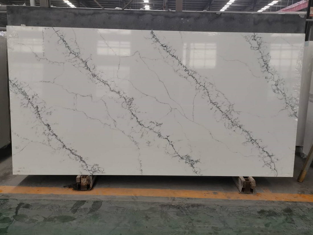 China marble like quartz stone slab