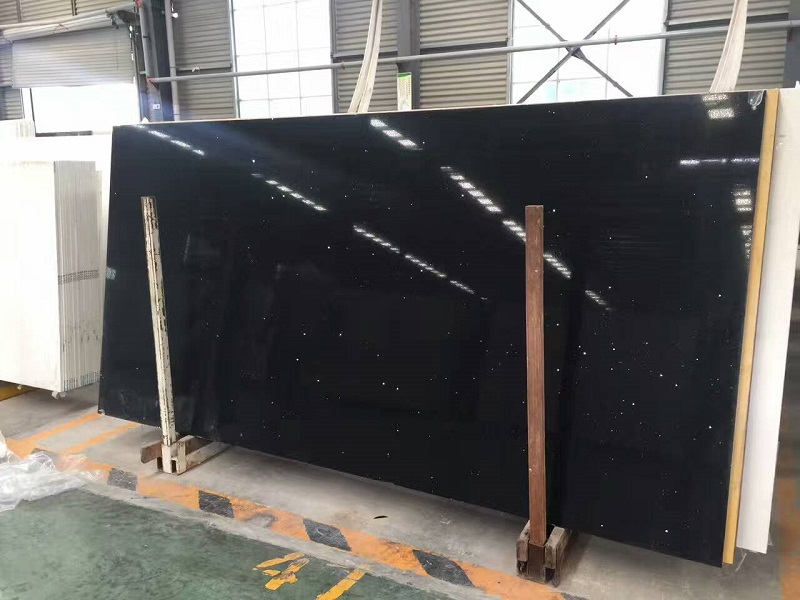 mirror black quartz stone slab