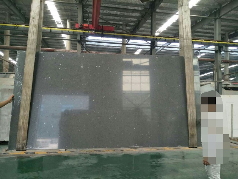 mirror grey quartz stone slab