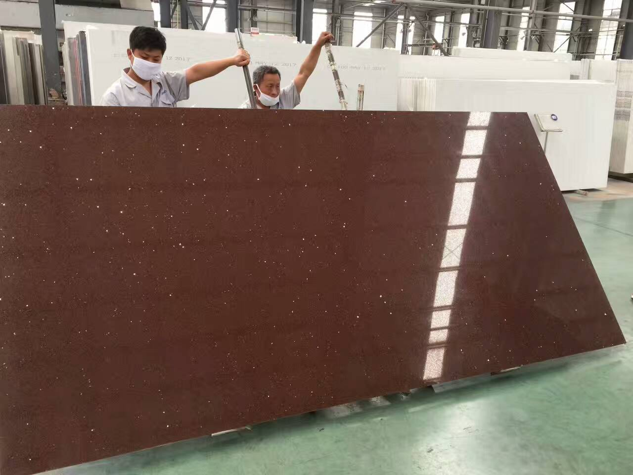 Brown color quartz slabs with mirror