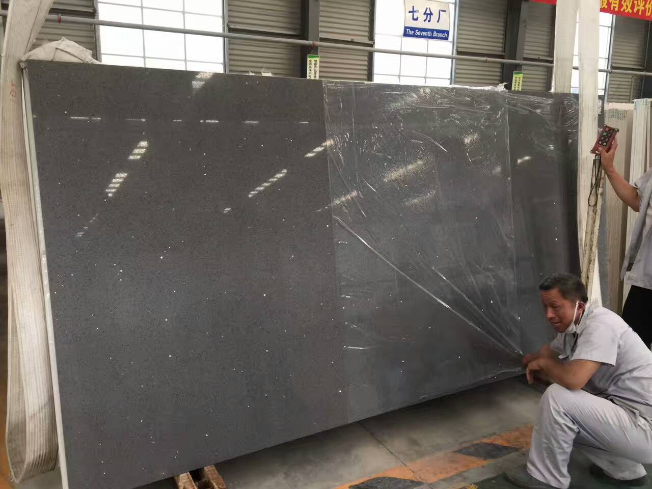 Gray color quartz slabs with mirror