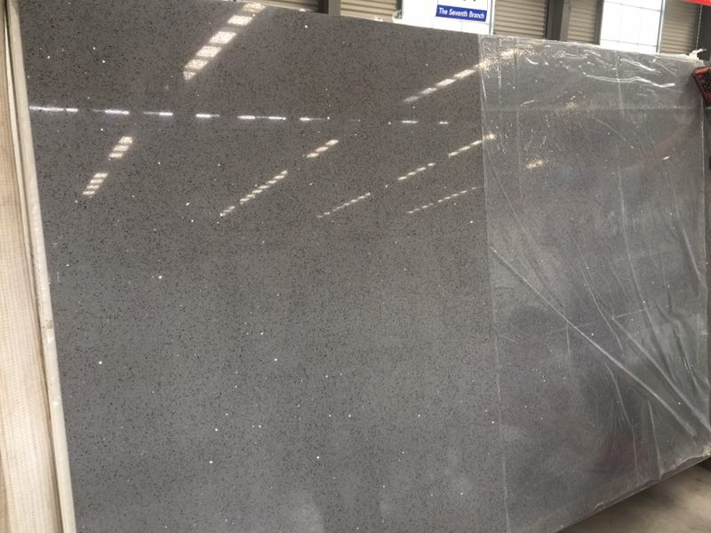 Galaxy gray color quartz stone slabs for countertops