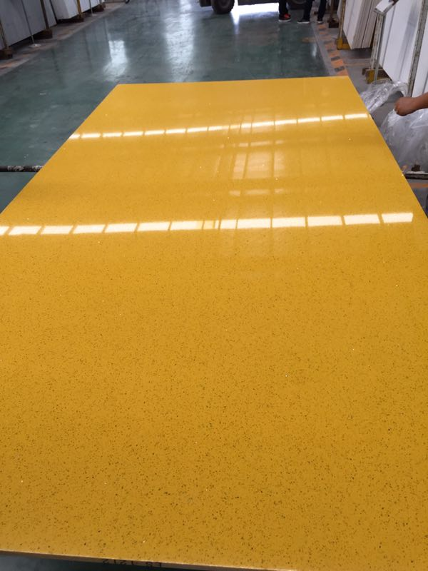 Yellow color artificial quartz slabs countertops