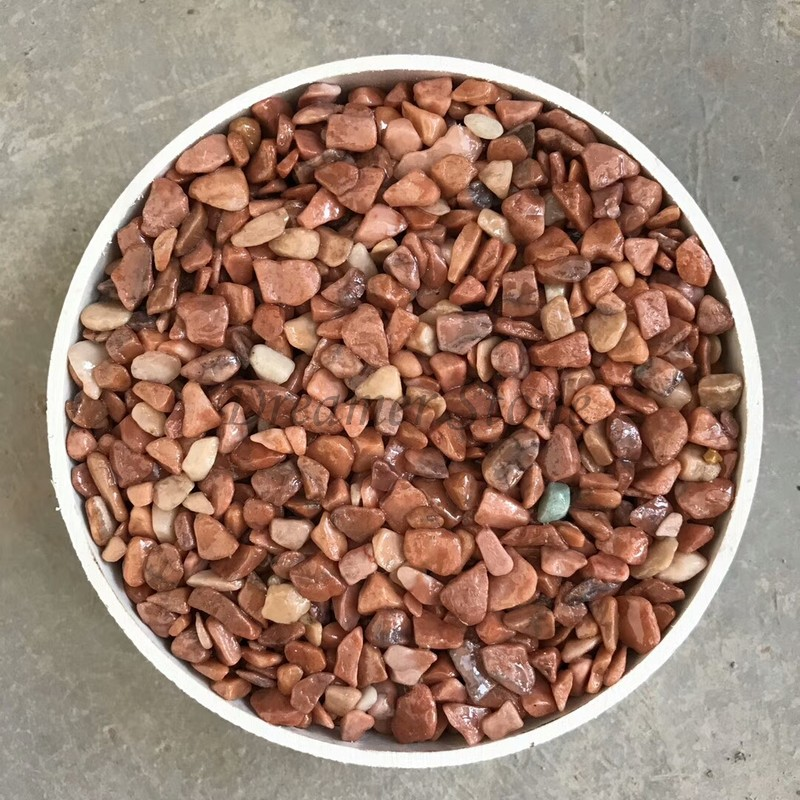 Red polished pebble stone for flooring
