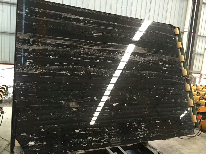 Silver Dragon Marble  China Classic Black Marble Slab China Nero Portoro Marble