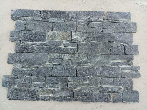 Decorative Black Quartzite Cement Wall Stone Panel