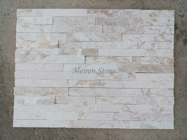 Exterior White Quartzite Wall Stacked Stone Veneer
