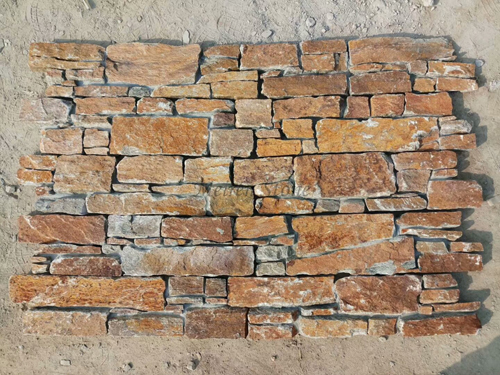 Exterior Rusty Quartzite Cement Stone Wall Panel