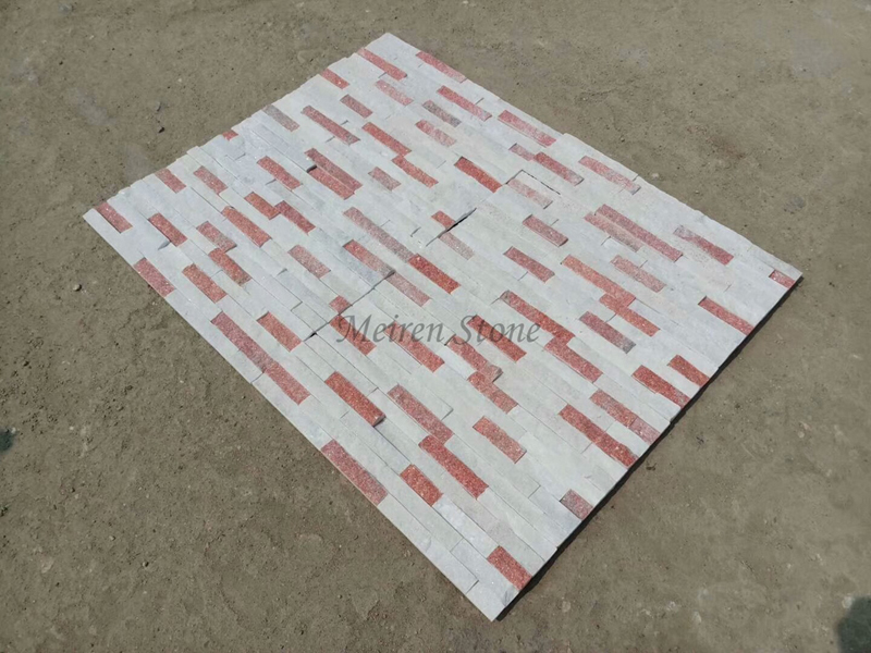 Multicolor White and Pink Quartz Wall Cladding Stone