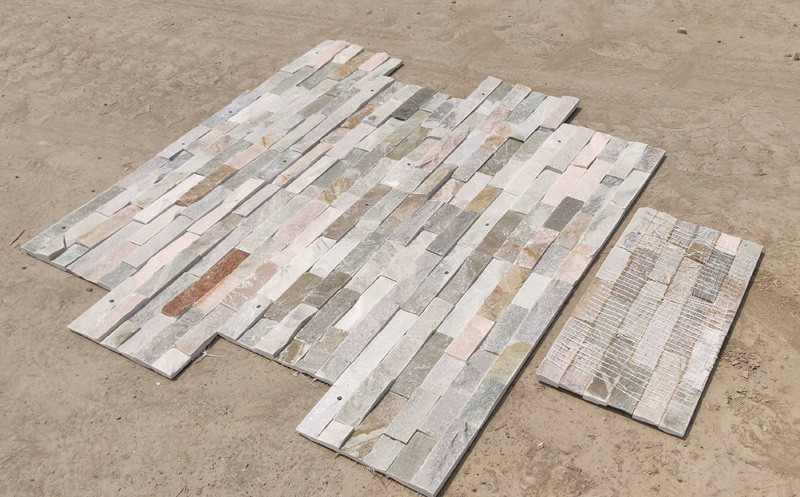 Drilling natural yellow pink slate wall stone panel for sale