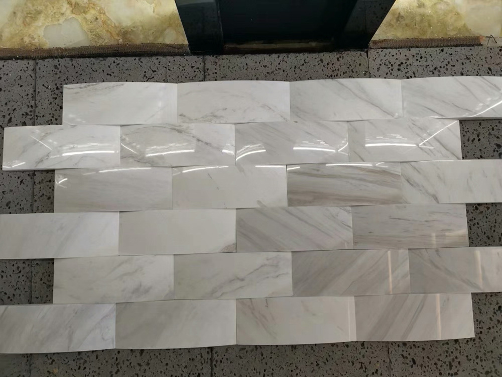 White polished marble weave stone veneer