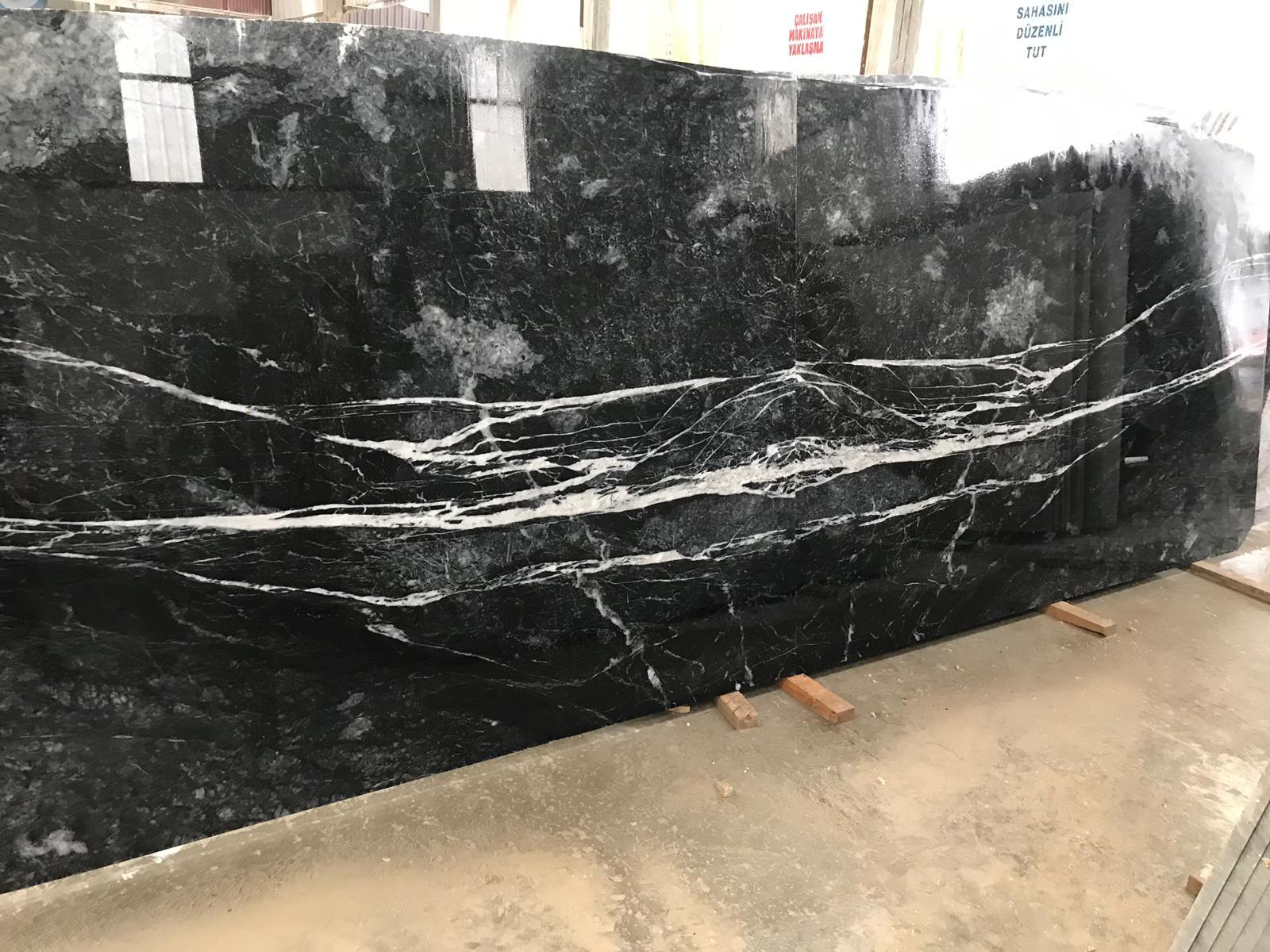 Mugla Black Polished Marble Slabs from Turkey