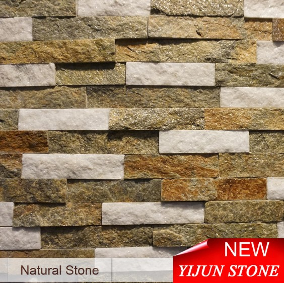 New China Quartzite Brown White Stone Cultured Stone Ledgestone Fireplace Surrond Decorative