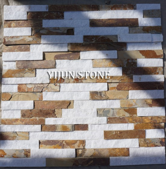 New Rusty Slate Quartzite Wall Stone Brown White Quartzite Stone Cultured Stone Ledgestone Fireplace Surrond
