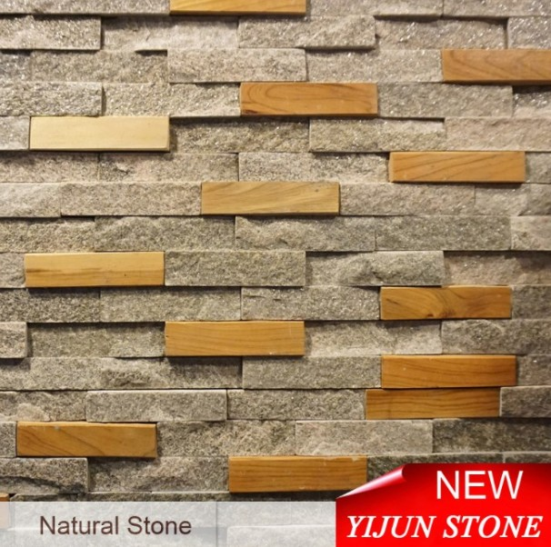 Black Quartize and Wood Mixed Natural Surface Cultural Stone Made in China Hebei Black Quartzite