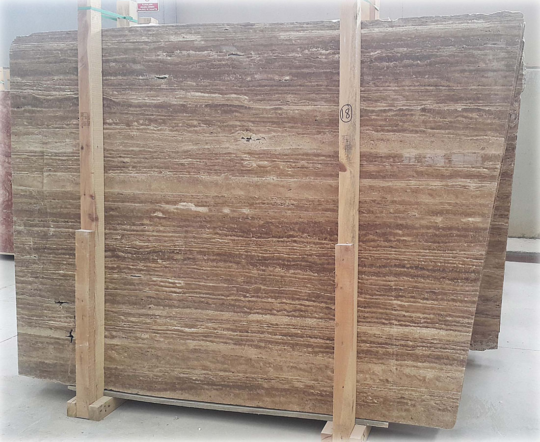 Brown Noche Travertine Vein Cut Slab