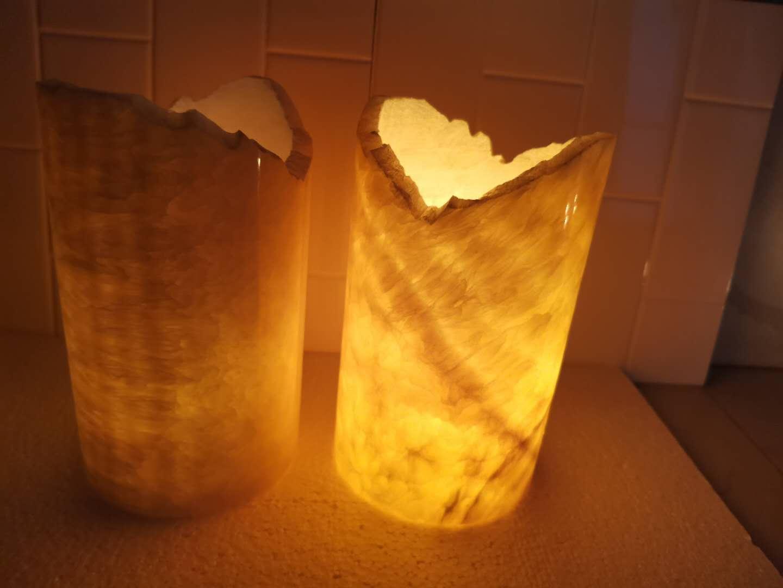 Yellow Onyx Candle Jar Tube Design