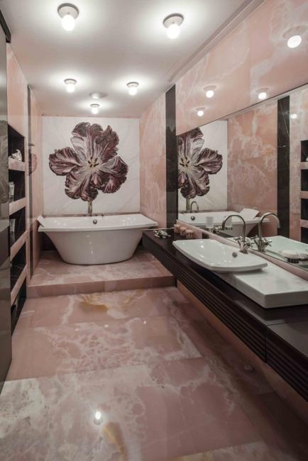 Interior decoraction with pink onyx stones