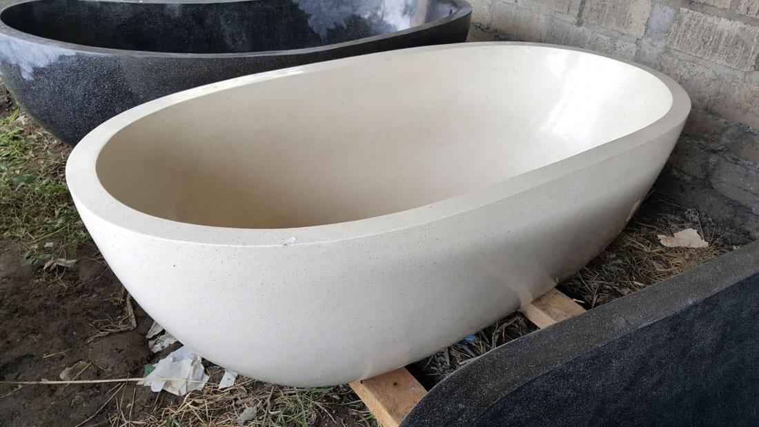 Indonesia Oval Terrazzo White Bathtub