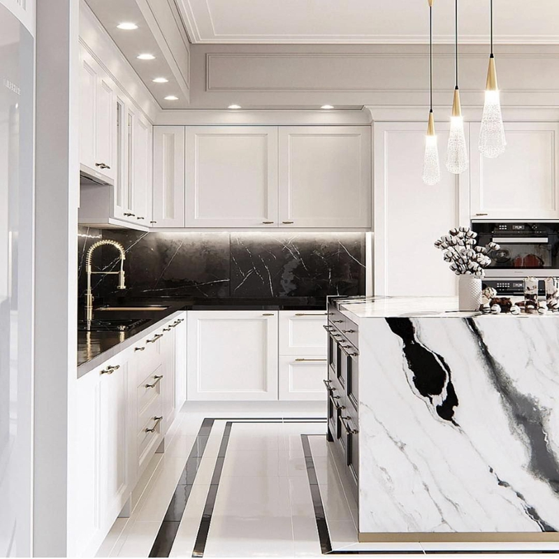 Professional Panda White Marble Kitchen Countertop