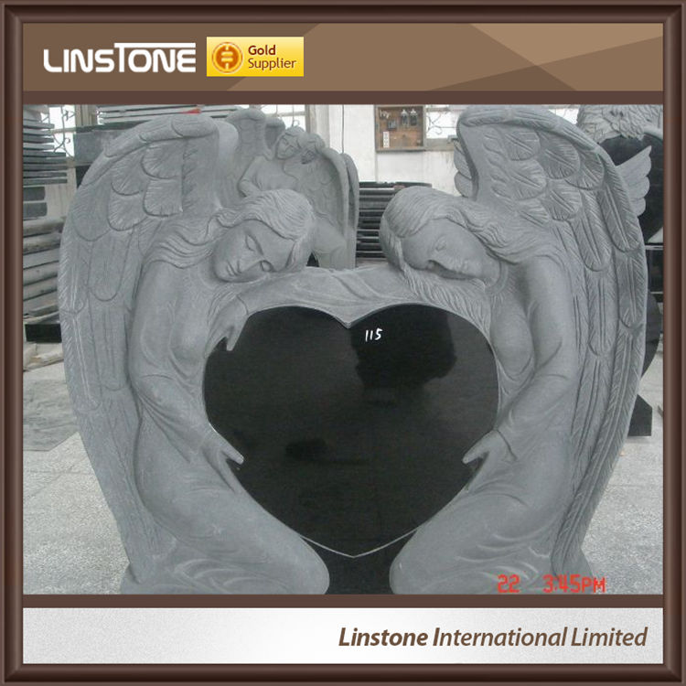 Modern Classic Granite Angel Heart Headstone Monument Tombstone