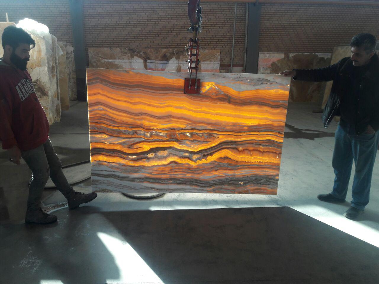 vein cut orange onyx