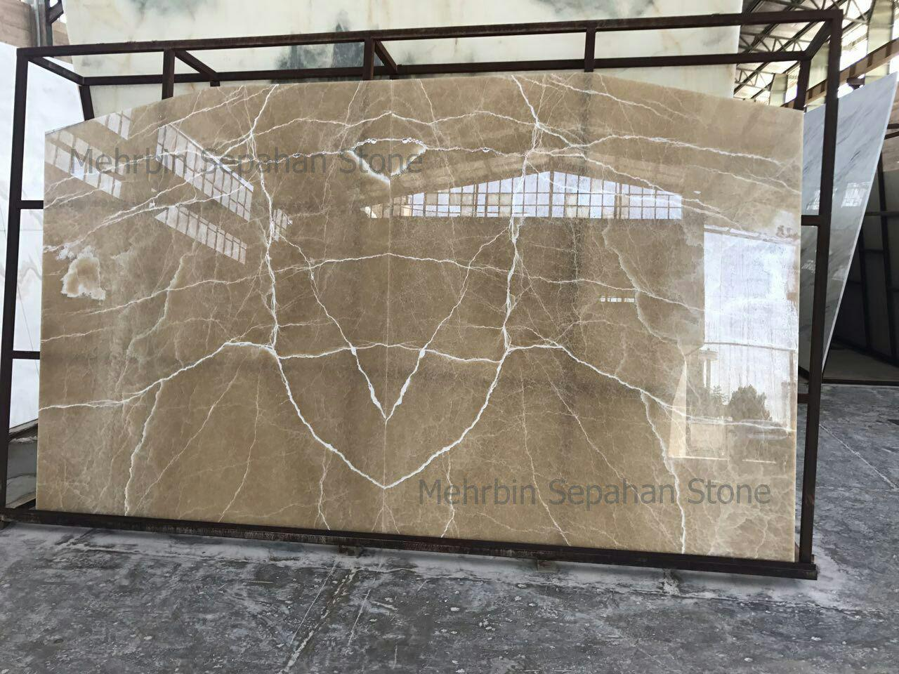 Honey Onyx book-matched slabs