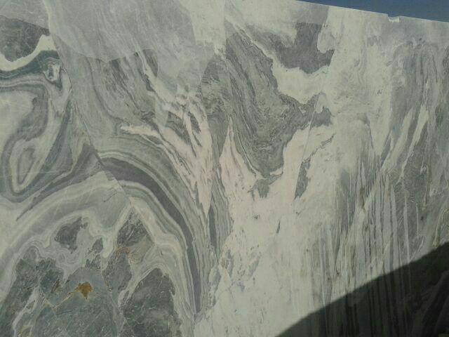 Green Waterfall Block   Iran Wavy Marble  Grey and white Marble