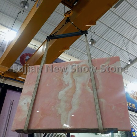 Pink onyx slabs