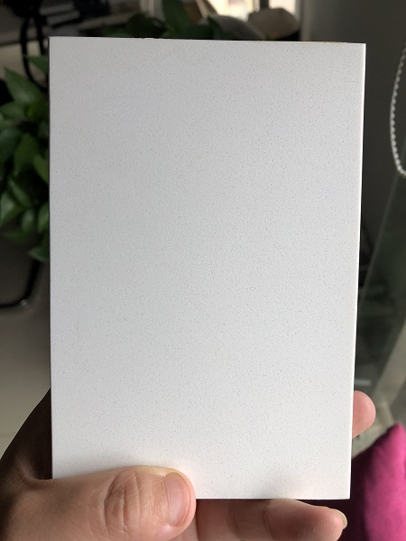 plain white quartz stone slab