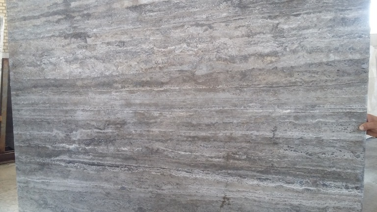 Silver Travertine Blocks and Slabs from Iran