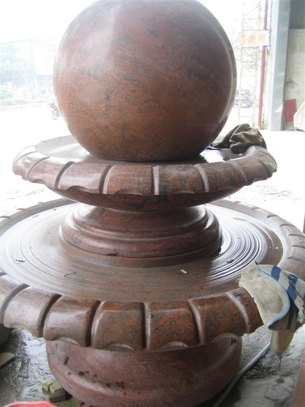 Red Granite Floating Ball Fountains  Rolling Sphere Fountains