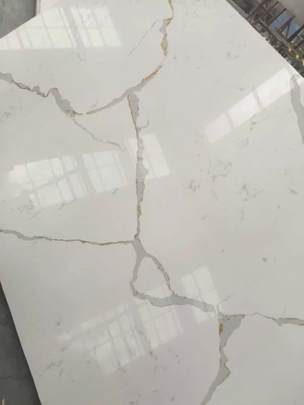 Chinese Artificial Calacatta White Quartz Stone Slabs