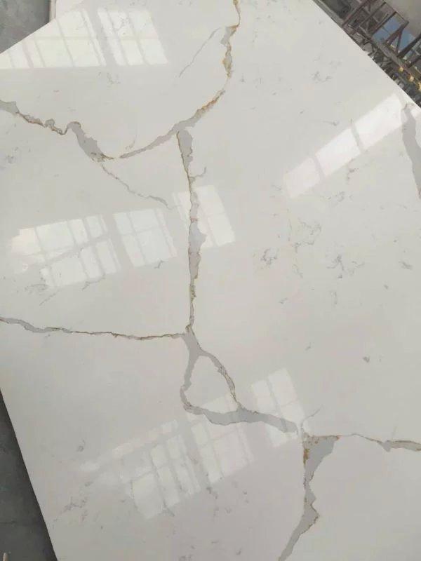 Chinese Artificial Calacatta White Quartz Stone Slabs