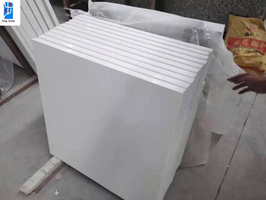 Pure white quartz stone tiles