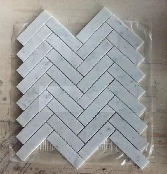 Herringbone carrara white mosaic